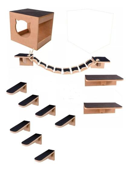 Kit Play Nicho Gatos Toca,escada,ponte,prateleira 11 Pcs Mdf