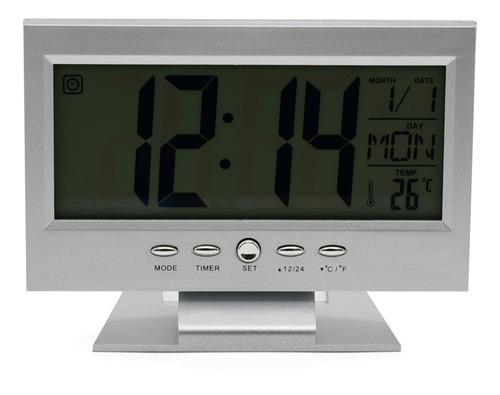 Imagem 1 de 5 de Relógio De Mesa Digital Despertador Temperatura Led Azul