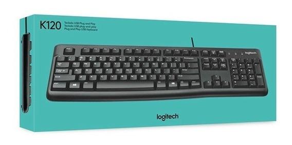 Teclado Logitech K120 Com Fio Cabo Usb Abnt2 C/ Ç Português Resistente Água Ñ Microsoft Dell Nota Fiscal 3 Anos Garantia