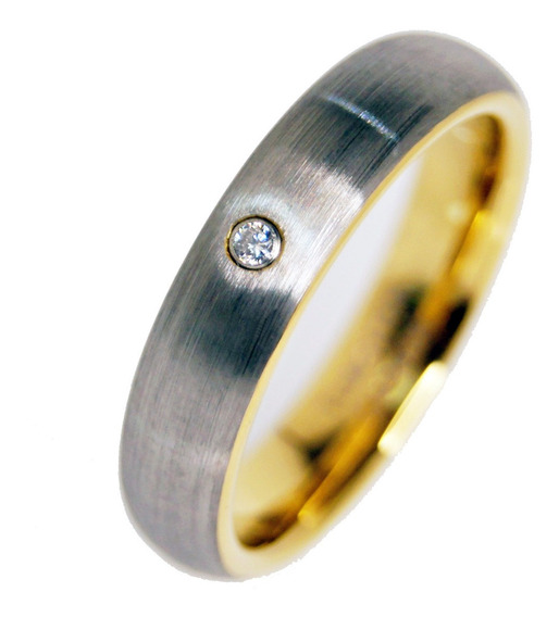 Anillo Tungsteno Zirconia Gold & Grey Matrimonio Regalo