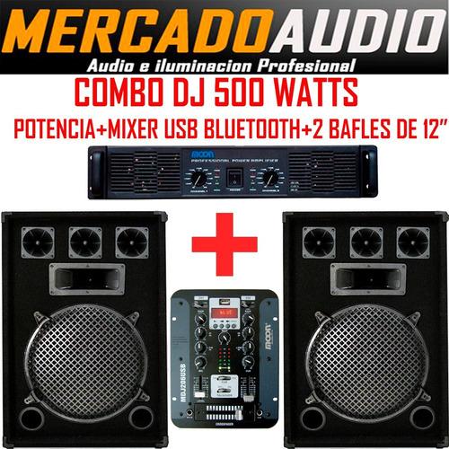 Imagen 1 de 5 de Combo Dj 500 Watts Potencia+mixer Usb Bluetooth+ 2 Bafles 12