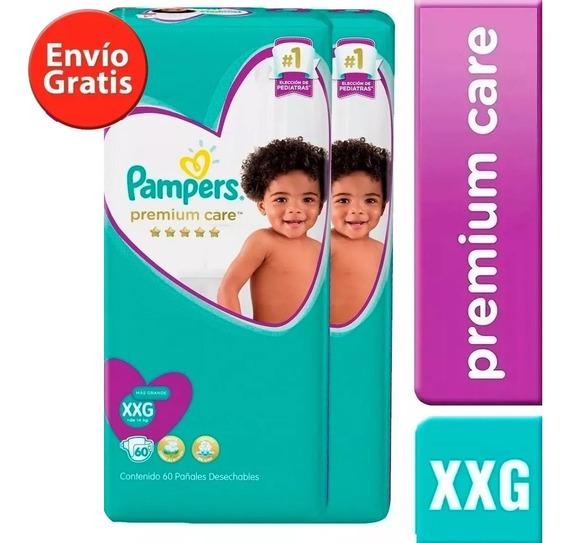 2 Paquetes Pañales Pampers Premium Care 120 Unidad Talla Xxg