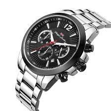 Relógio Masculino Cronográfo Prata E Preto Pl80031633m