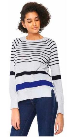 Suéter Feminino Tricot Listrado Branco/azul - Malwee