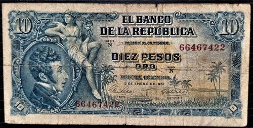 Imagen 1 de 2 de Billete 10 Pesos Oro 02/ene/1961 Colombia Fine