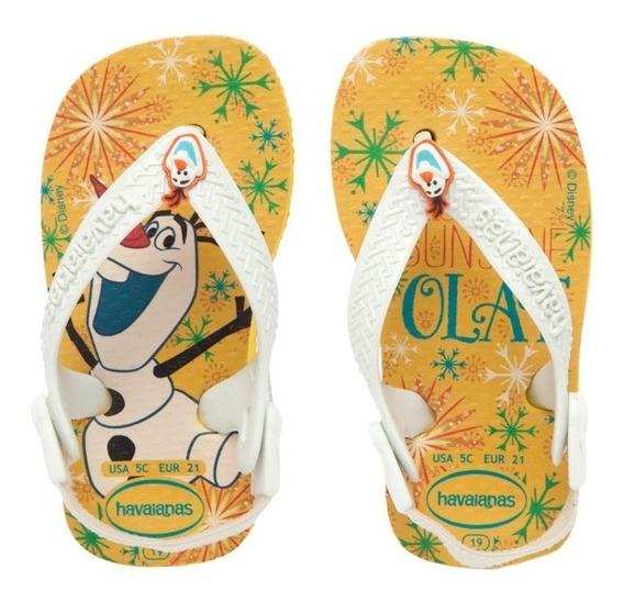 Chinelo Infantil Havaianas Baby Frozen Amarelo Olaf Original