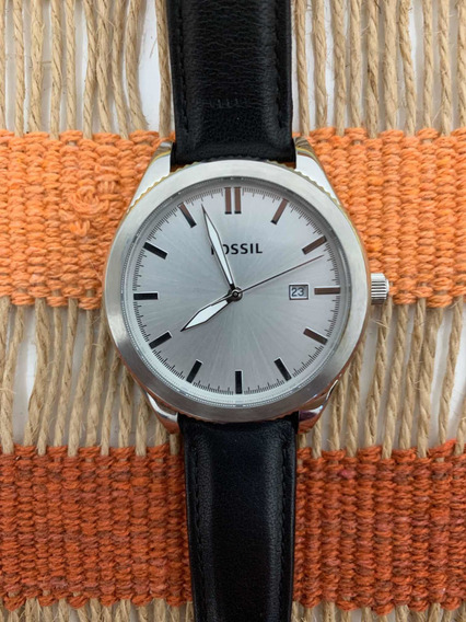 Relógio Fóssil Couro Preto