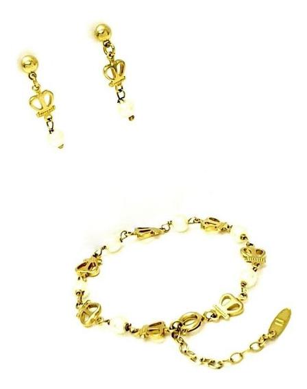 Brinco Infantil Pulseira Coroa Pérola Banhada Ouro 1315 1405