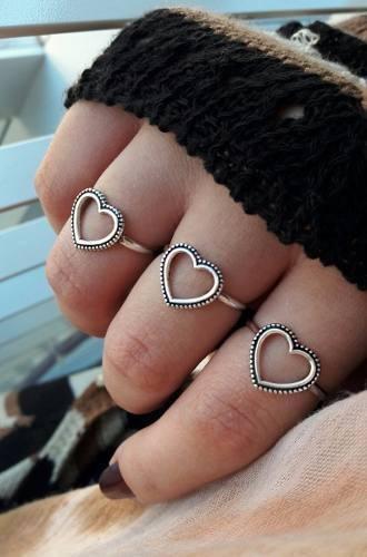 Anel Coração Vazado Boho Prata 925 Feminino Blogueira