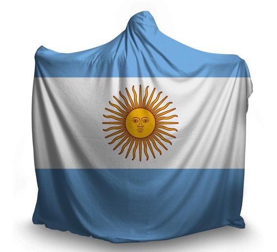 Manta Coberta Com Capuz Touca Adulto Bandeira Argentina País