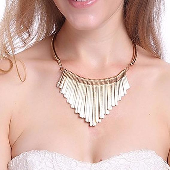 Belo Maxi Colar Dourado Presente Namorada Esposa Lindo C39