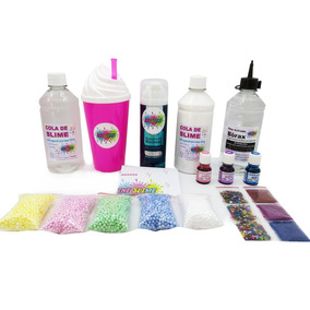Kit Slime Barato Cola Borax Corantes Glitter Isopor Espuma!