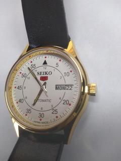 Reloj Seiko 5 Automático Chapado En Oro