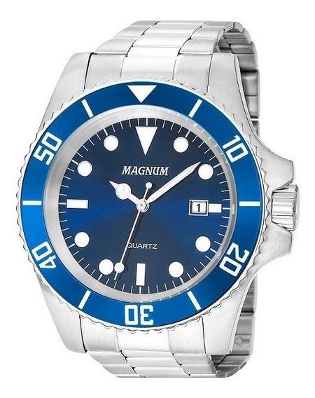 Relógio Magnum Masculino Aço Prata Azul 2 Anos Garantia