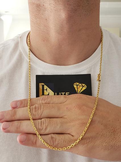 Cordão Fino 2mm Cadeado Banhado A Ouro 18k Luxo Masculino