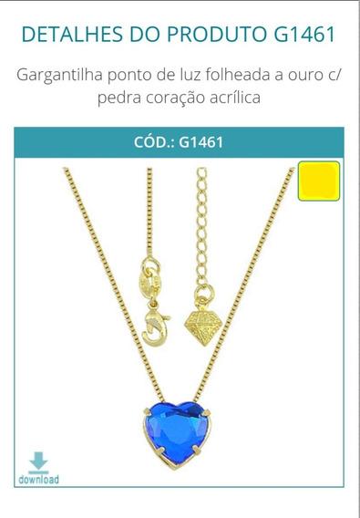 G1461 Gargantilha Ponto De Luz Folheada A Ouro C/ Pedra Cora
