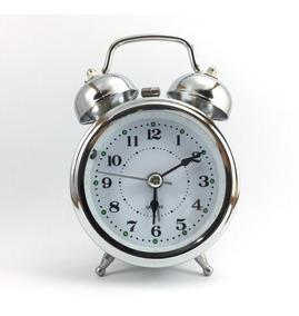 Relógio Despertador Cromado Prata Retro Antigo Sino Alto