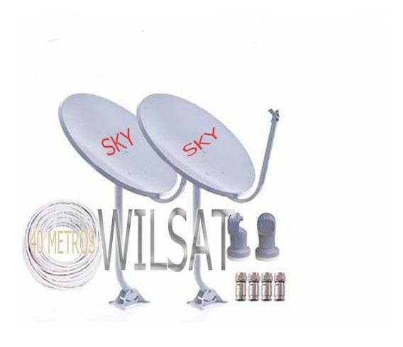 Kit 2 Antenas Banda Ku Lnb Simples+cabo+conector Completona