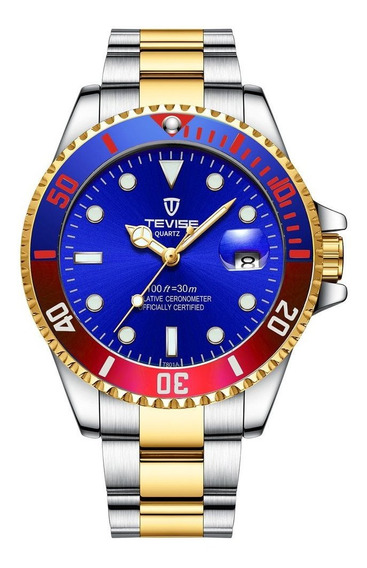 Blue Tevise Top Marca Homens Relógio Automático Mecânico