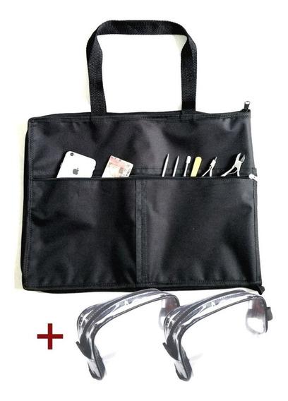 Pasta Bolsa Organizadora Porta Esmaltes Até 120 Frascos Manicure Maquiadora Com Bolsos Frontais + 2 Estojo Transparente