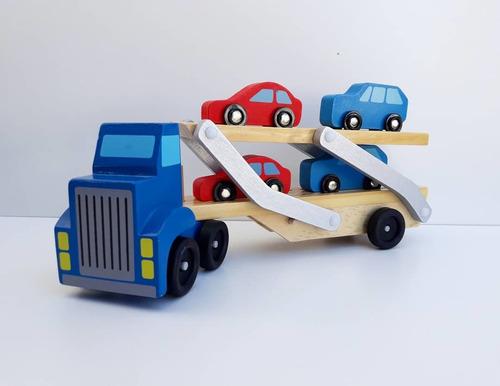 Camión De Remolque De Madera Con 4 Autos