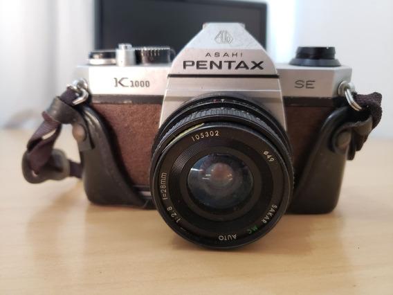 Câmera Pentax K1000 Com Lente Sakar 28mm 1:2.8 Com Case