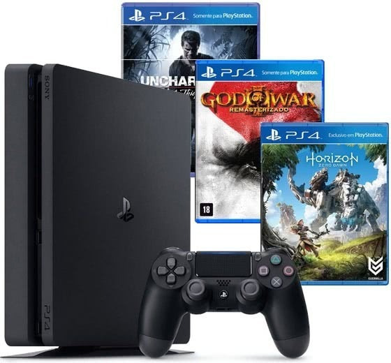 Playstation 4 Slim Sony 500gb Ps4 + 3 Jogos Pronta Entrega