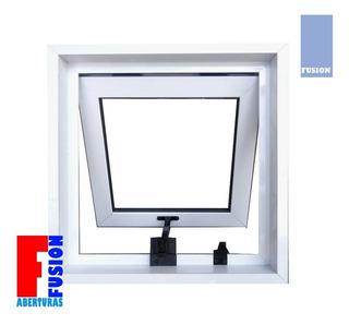 Ventiluz Aluminio 40x40 C/vidrio 4mm Con Brazo De Empuje