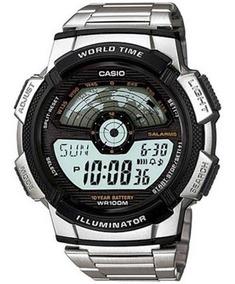 Relogio Casio Ae-1100wd Hora Mund Aço Timer 5 Alarmes Ae1000