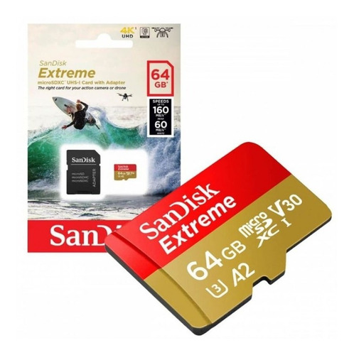 Imagem 1 de 6 de Cartão Memória 64gb Micro Sd Extreme 160mbs V30 4k Sandisk