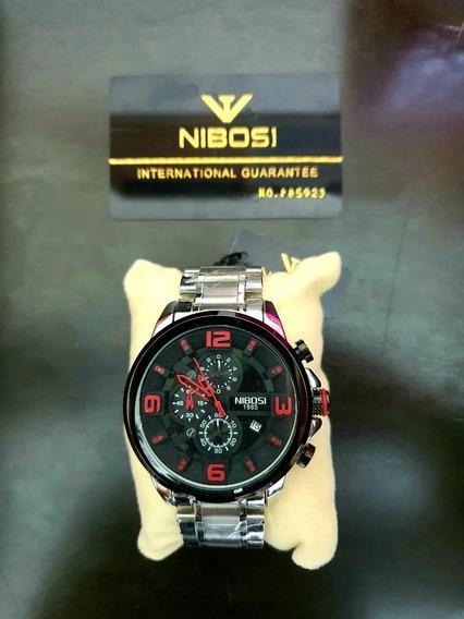 Relógio Nibosi Gde. Prateado Números Vermelhos
