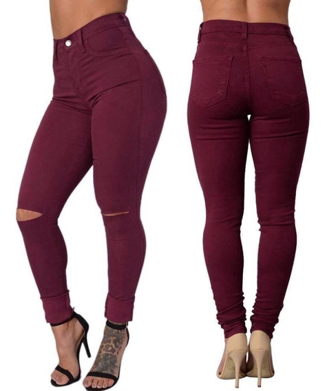 Calça Jeans Feminina Com Joelho Rasgado Plus Size Com Lycra