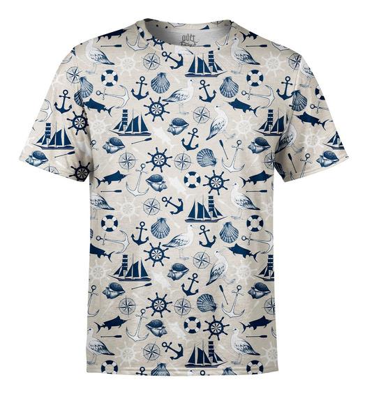 Camiseta Masculina Tema Marinho Estampa Digital