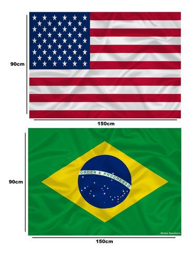 Bandeira Do Brasil + Estados Unidos Grandes Pronta Entrega