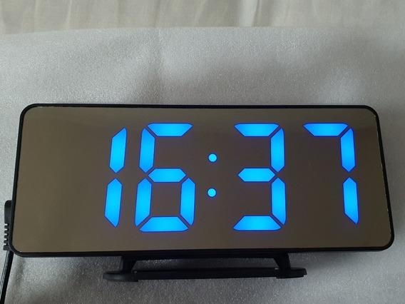 Reloj Despertador Tipo Espejo Letras Azules