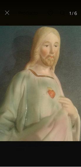 Porcelana Alemana Xix Imagen Sagrado Corazón De Jesus Cristo