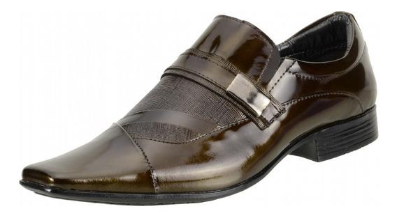 Sapato Social Masculino Calçado Sociais Couro Legítimo Verniz Estilo Italiano Envernizado Solado Borracha - 8148