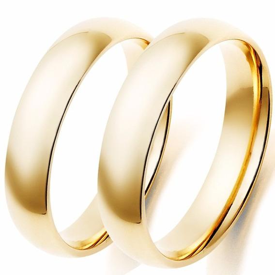 Alianças Noivado E Casamento Ouro 18k 8grs 4mm Frete Grátis
