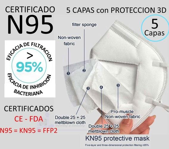 Mascarilla K N95 Plegable Lote 50 Pzs Protección Antiviral