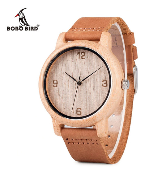 Relógio Unissex Bambu Madeira Original Bobo Bird L09