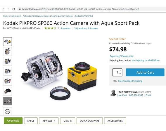 Cámara 360 Kodak Nueva Con Todos Sus Accesorios Nikon Canon