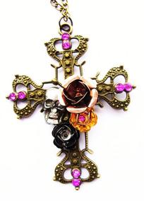 Colar Punk Rock Retro Cruz Crucifixo Rosa Caveira Mexicana