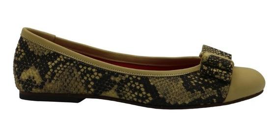 Zapatos Mujer Balerinas Chatas Cuero Amarillo Leblu 859