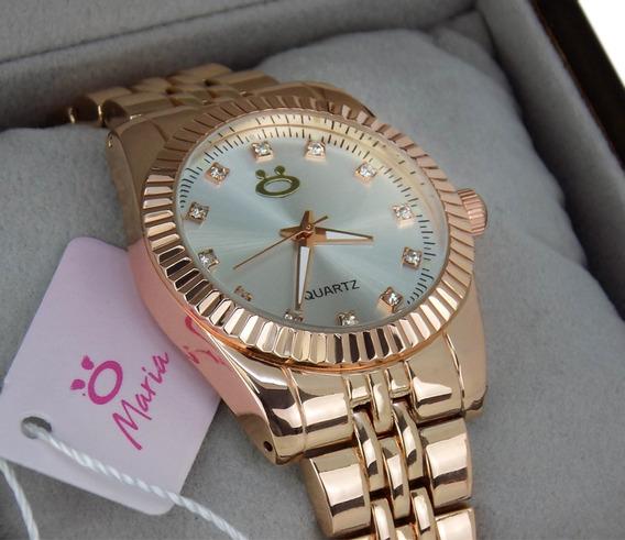 Relógio Dourado Feminino Original + Colar + Brincos - 3a39