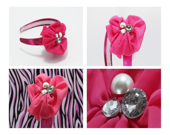 Diadema Dama Niña Vintage Flor Rosa Crsitales Perlitas Dia58