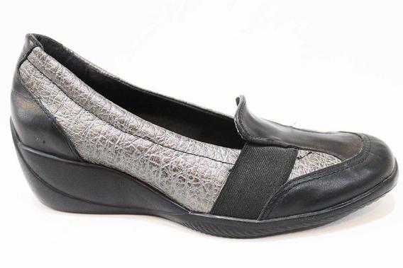Zapato Cuero Mujer Combinado Elástico Art S-122. Marca Alen