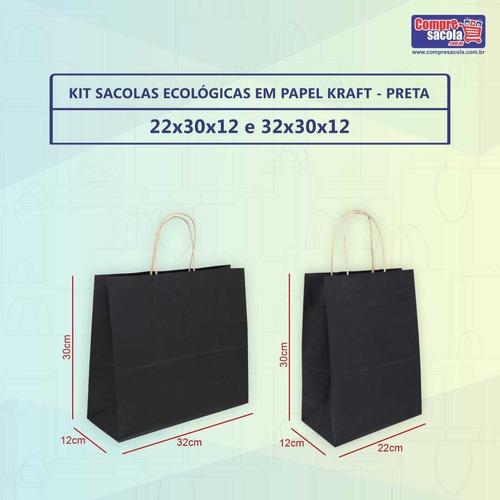 Kit Sacolas Papel Kraft P E M  100 Un Preto