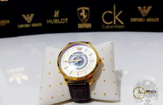 Relógio Masculino E.a. Dourado Pulseira De Couro