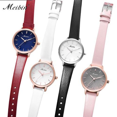 Meibin Reloj Relojes Vintage Diseños Original Piel 5 Colores