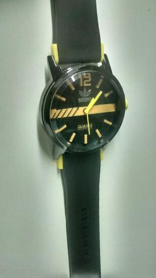 Relógio Masculino Quartz Preto Com Amarelo Importado